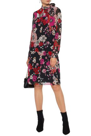MIKAEL AGHAL Pussy-bow pleated floral-print fil coupé chiffon dress
