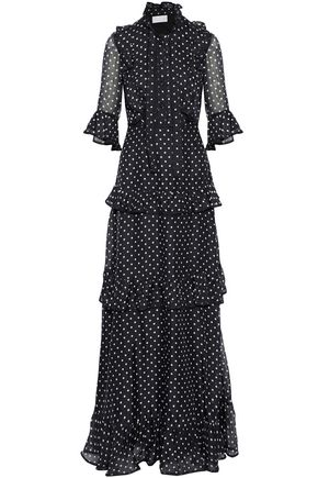 MIKAEL AGHAL Pussy-bow tiered polka-dot silk-chiffon gown