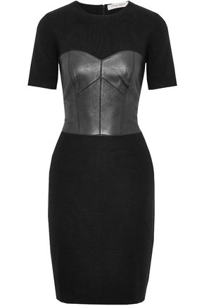 CAROLINA HERRERA Leather-paneled wool dress