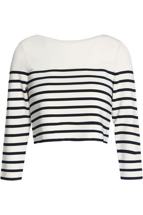 T by ALEXANDER WANG Cropped striped jersey top