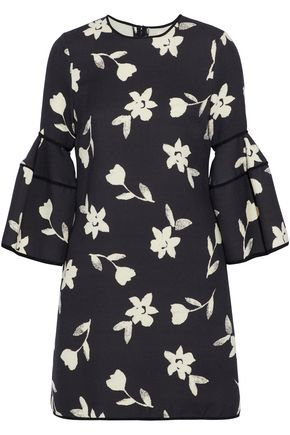 CAROLINA HERRERA Silk-trimmed floral-print wool-twill mini dress