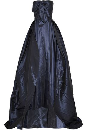 CAROLINA HERRERA Strapless pleated silk-taffeta gown