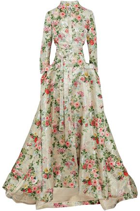 CAROLINA HERRERA Flared metallic floral-jacquard gown