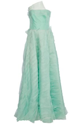 CAROLINA HERRERA Strapless pleated tulle and silk-organza gown