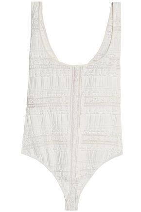 CINQ À SEPT Lace-trimmed gathered cotton-blend bodysuit