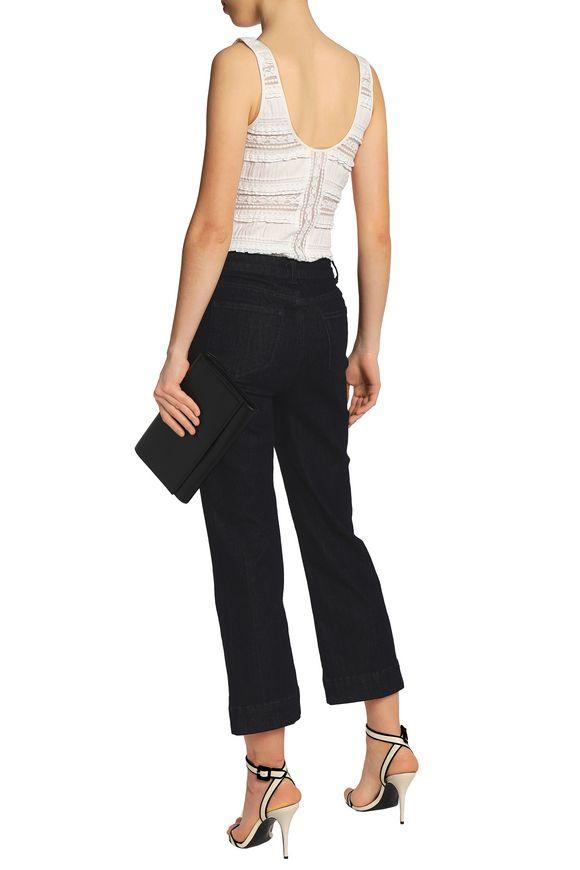 Cinq À Sept Woman Lace-paneled Cotton-blend Bodysuit White Size M Cinq à Sept Low Price Fee Shipping Cheap Online Store kHSB5N6d