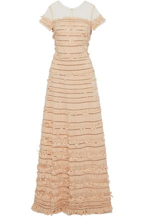 CAROLINA HERRERA Bead-embellished frayed crepe de chine and tulle gown