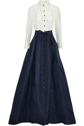 CAROLINA HERRERA Pleated two-tone silk-faille gown