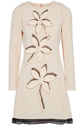 CAROLINA HERRERA Appliquéd organza-trimmed wool-blend mini dress