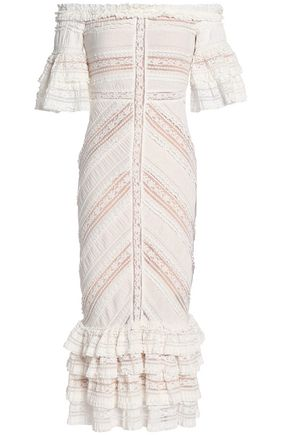 CINQ À SEPT Off-the-shoulder lace-trimmed gathered cotton-blend midi dress