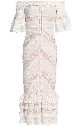 CINQ À SEPT Off-the-shoulder lace-trimmed gathered cotton-blend midi dress