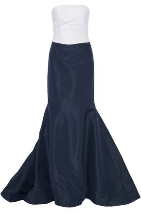 CAROLINA HERRERA Bow-embellished two-tone silk-faille gown
