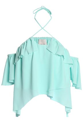 CINQ À SEPT Off-the-shoulder layered ruffled crepe top
