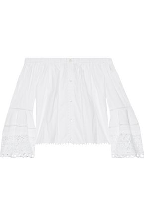 CAROLINA HERRERA Off-the-shoulder guipure lace-paneled cotton-blend poplin top