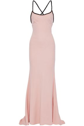 CAROLINA HERRERA Crystal-embellished silk-crepe gown
