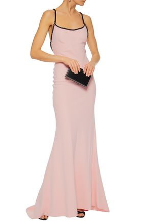 Carolina Herrera Woman Crystal-embellished Silk-crepe Gown Pastel Pink Size 4 Carolina Herrera How Much Cheap Price Pay With Paypal Online VNQOrh