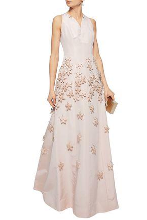 CAROLINA HERRERA Flared embellished silk-faille gown