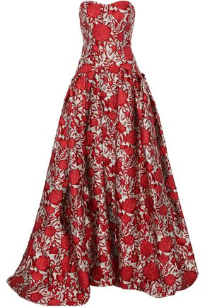 CAROLINA HERRERA Strapless pleated brocade gown