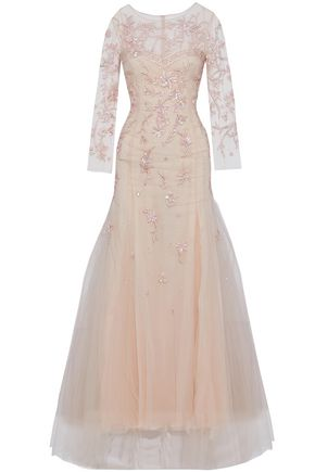 CAROLINA HERRERA Layered embellished tulle and silk gown