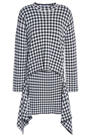 ROSETTA GETTY Layered draped gingham intarsia-knit midi dress