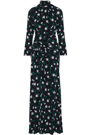 CAROLINA HERRERA Open-back floral-print ruched silk-crepe de chine gown