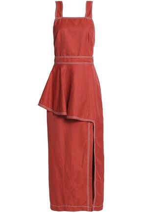 STELLA McCARTNEY Split-front layered poplin midi dress