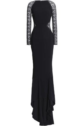 STELLA McCARTNEY Lace-paneled crepe gown
