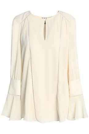 HAUTE HIPPIE Flared cutout open knit-trimmed crepe blouse