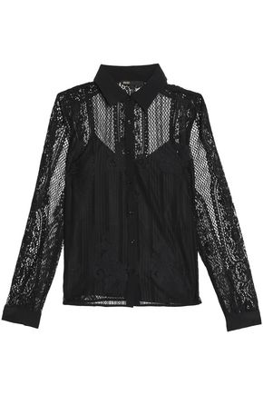 MAJE Layered corded lace and crepe de chine shirt