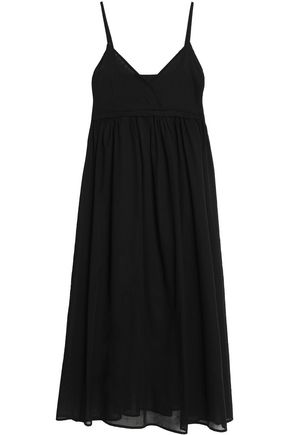 Iris & Ink Woman Laure Pleated Cotton-gauze Midi Dress Black Size 12 IRIS & INK wHWlLPW2v