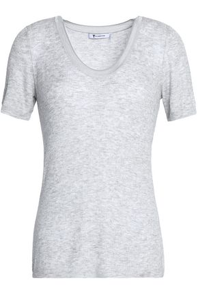 T by ALEXANDER WANG Mélange ribbed-knit T-shirt