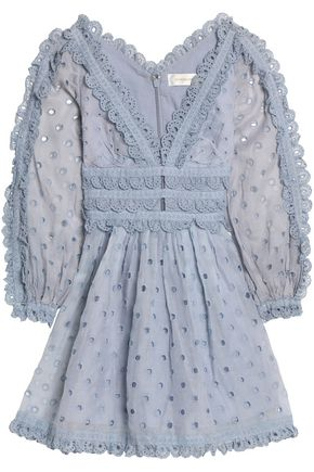 ZIMMERMANN Winsome scalloped broderie anglaise cotton mini dress