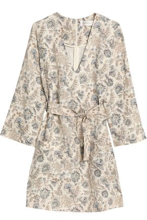 ZIMMERMANN Belted floral-print linen-canvas mini dress