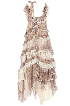 996a2bd799f ZIMMERMANN Stranded lace-up ruffled floral-print silk-georgette midi dress  ...