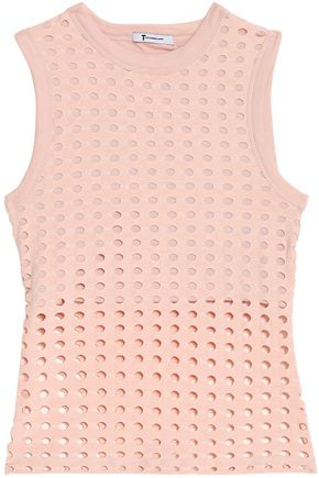 T by ALEXANDER WANG Laser-cut stretch-jersey top