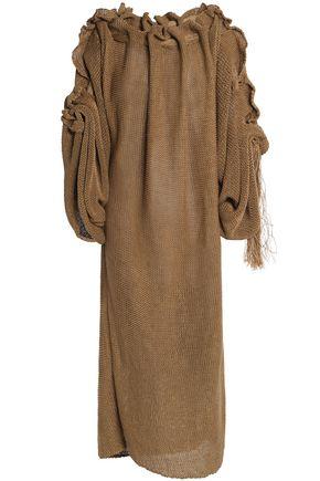 STELLA McCARTNEY Gathered open-knit linen midi dress