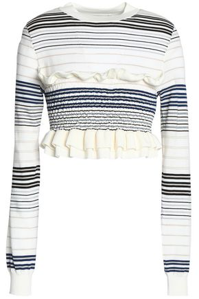STELLA McCARTNEY Cropped ruffle-trimmed smocked striped wool top