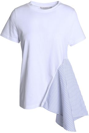STELLA McCARTNEY Striped poplin-paneled cotton-jersey T-shirt