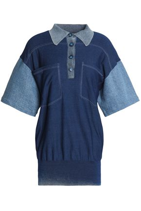 STELLA McCARTNEY Denim-paneled cotton-jersey polo shirt