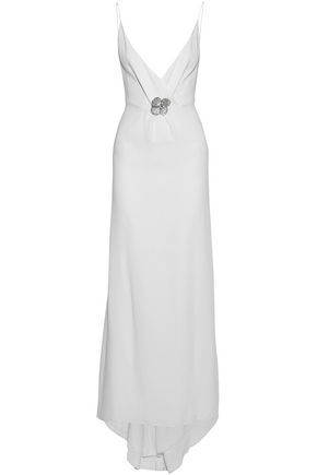 CAROLINA HERRERA Wrap-effect embellished silk-blend crepe de chine gown