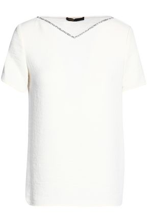 MAJE Crystal-trimmed crepe T-shirt