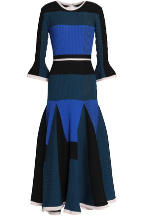 ROKSANDA Color-block ribbed-knit wool-blend midi dress