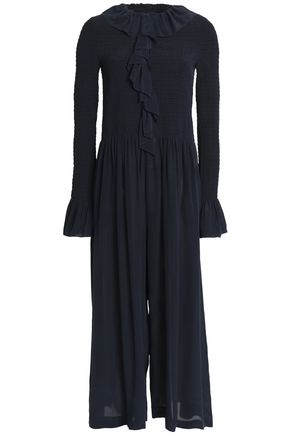 STELLA McCARTNEY Cropped ruffled silk crepe de chine jumpsuit