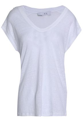 IRO Lace-up linen-jersey top