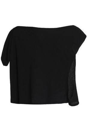 IRO Asymmetric cotton and silk-blend jersey top