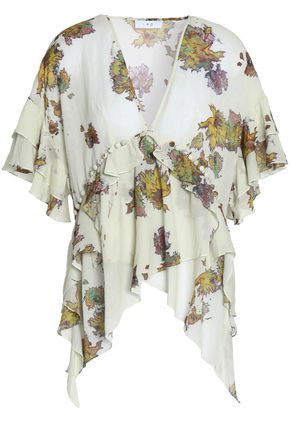 IRO Draped printed crepe de chine blouse