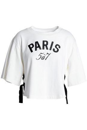 CINQ À SEPT Lace-up printed cotton-jersey T-shirt