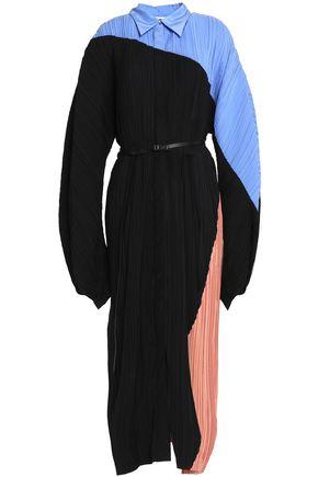JIL SANDER Belted color-block plissé-silk midi dress
