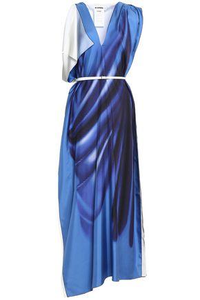 JIL SANDER Draped printed silk midi dress