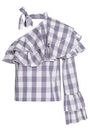 W118 by WALTER BAKER One-shoulder ruffled gingham cotton-poplin top